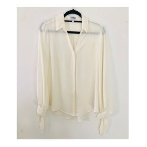 EXPRESS Ivory color Blouse with Tie bottom sleeves